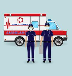 Hospital staff concept paramedics ambulance team vector