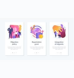Human legal migration app interface template vector