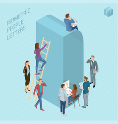 isometric letters with people vector image