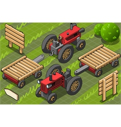 Isometric Red Farm Tractor in Two Positions vector