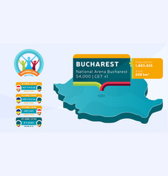 isometric romania country map tagged in bucharest vector image