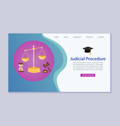 judicial procedure justice and court law scales vector image