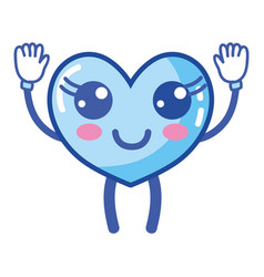 kawaii cute happy heart with arms and legs vector image
