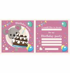 koala birthday invitation vector image