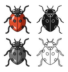 ladybug icon in cartoon style isolated on white vector image
