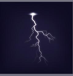 lightning on dark purple night sky isolated vector image
