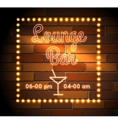 Lounge Bar neon Sight vector image vector image