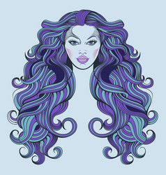 malvina a girl with blue hair vector image
