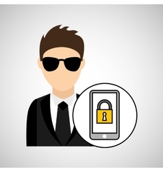Man cartoon smartphone digital technology security vector