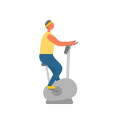 man in gym using stationary bike bodybuilding vector image