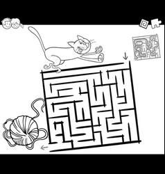 Maze with cat and wool coloring page vector