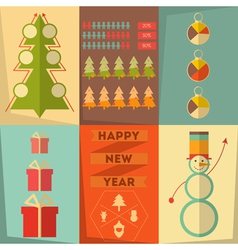 Merry Christmas Posters Set vector