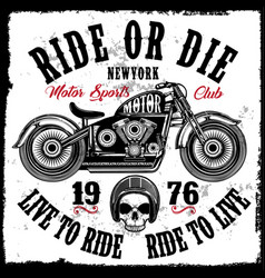Motorcycle club vintage skull tee graphic design vector