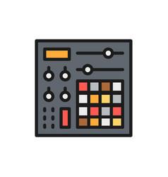 Music console audio mixer flat color line icon vector