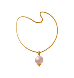 Necklace with huge pearl golden female accessory vector