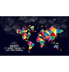 New year 2015 world map card vector image