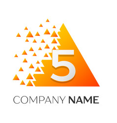 number five symbol on colorful triangle vector image