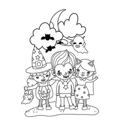 Outline children with funny costumes and ghosts vector