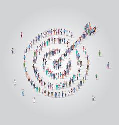 People crowd gathering in shape target vector