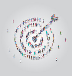 People crowd gathering in shape target with vector