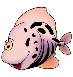 Pink spotted fish vector