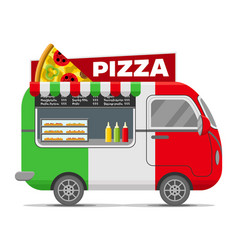 Pizza street food caravan trailer vector