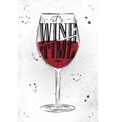 Poster wine time vector