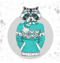 Retro hipster animal raccoon dressed in pullover vector
