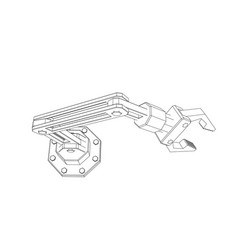 robotic arm isolated on white background outline vector image