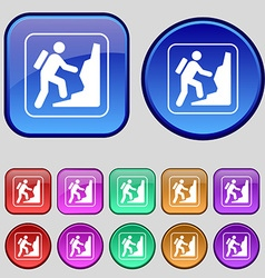 rock climbing icon sign A set of twelve vintage vector image