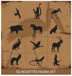 Safari fauna symbols silhouette set collection vector