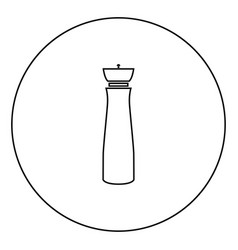 Salt and pepper mill black icon in circle outline vector