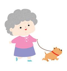 senior woman walking with dog vector image