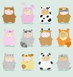 Set kids in cute animal costumes 1 vector