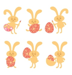 Set of cute easter bunny vector