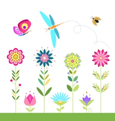 set of flowers dragonfly ladybug beetle butterfly vector image