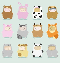 Set of kids in cute animal costumes 1 vector image