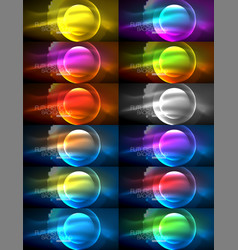 set of magic neon shape abstract background shiny vector image