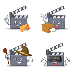 Set of movie clapper character with envelope box vector