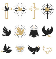Set religious signs cross with dove holy vector