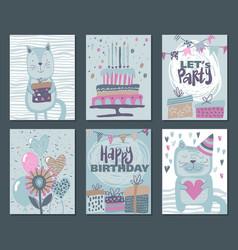 set three happy birthday party cards vector image