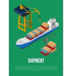 Shipment isometric banner with container ship vector