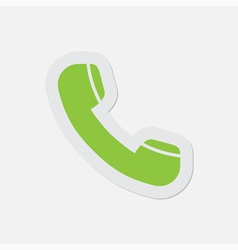 Simple green icon - telephone handset vector