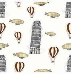 Sketch pisa tower vintage seamless pattern vector