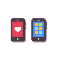 smartphpones with like and apps mobile phones vector image