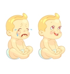 Smiling toddler baand crying child vector