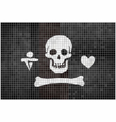 Stede bonnet pirate flag on brick background vector