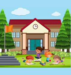 student learning outside school vector image