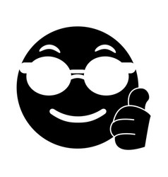 Sunglasses and thumb emoticon style pictogram vector