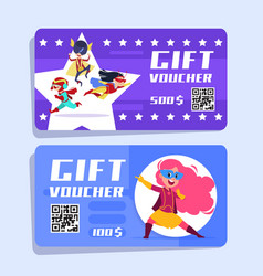 superhero kids gift voucher superheroes children vector image